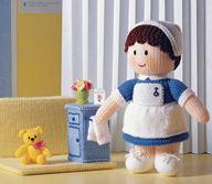 Knitting Pattern For Nurse Doll : Jean Greenhowe Mascot Dolls toy knitting pattern book includes santaclaus dol...